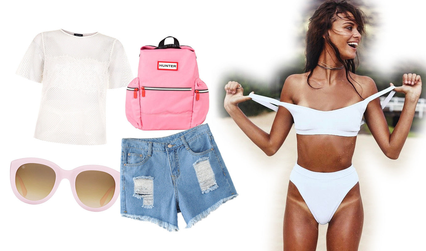 white bikini - sporty beach look