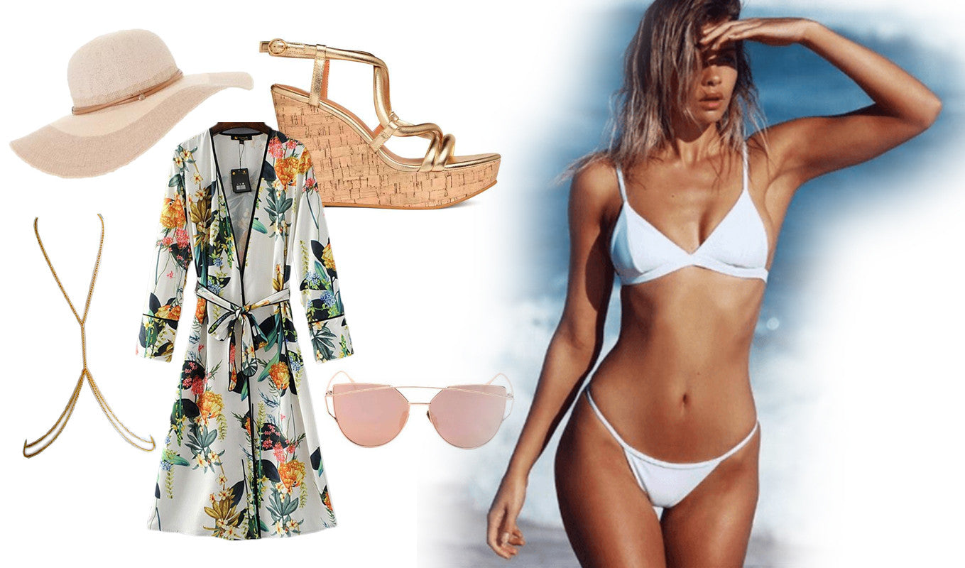 White bikini - luxury resort look with kaftan