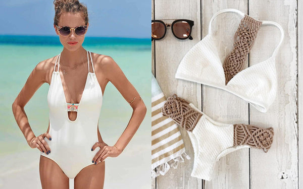 Luxury white swimwear