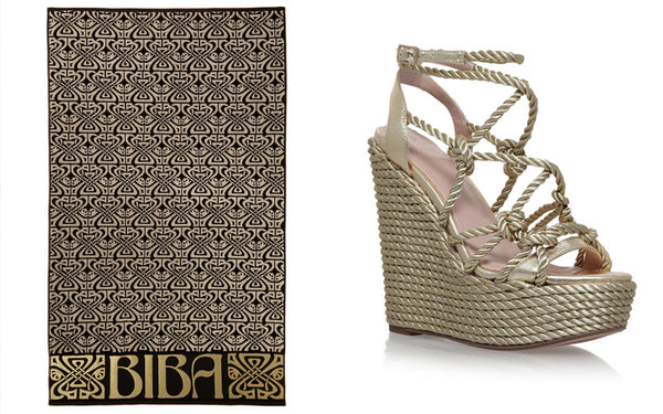 gold beach towel and wedge sandals