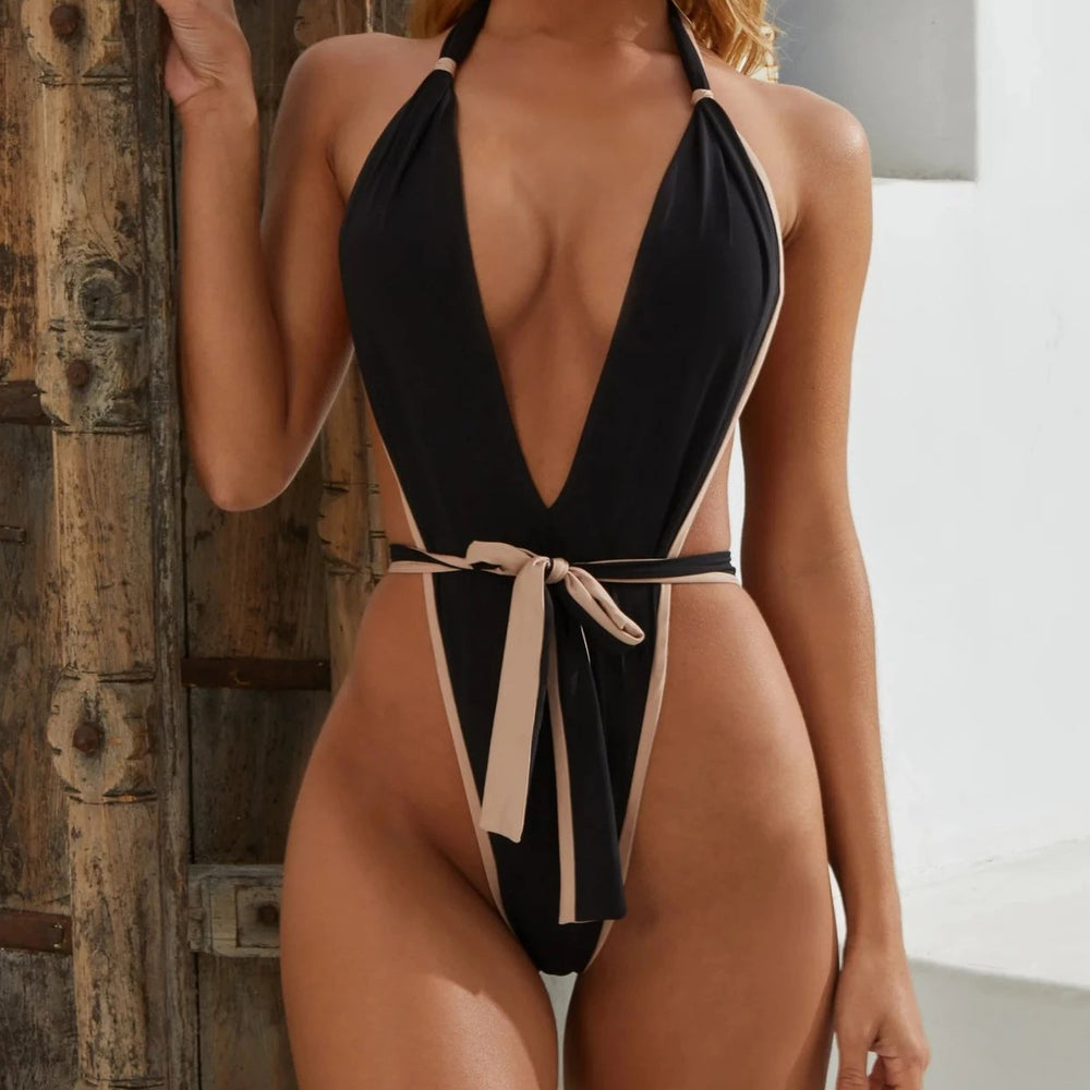 V Cut Belted One Piece Hailey