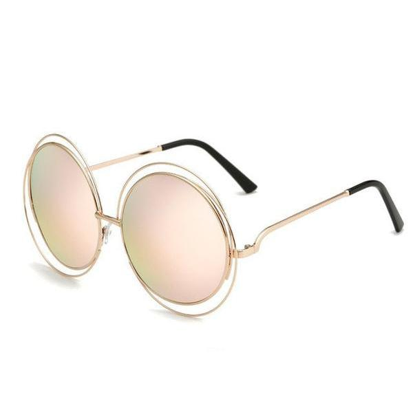 Gold&Pink Light Retro Sunglasses