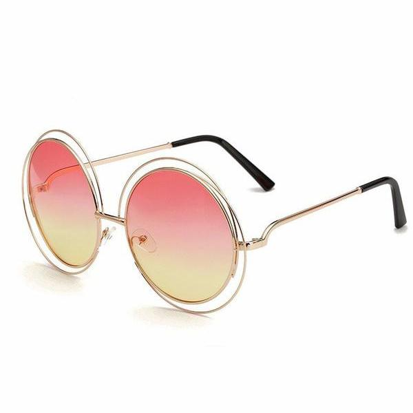 Gold&Pink Round Retro Sunglasses