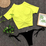 Short Sleeve High Neck Front Tie Pineapple Bikini