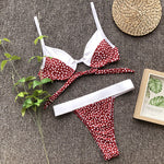 Push Up Wrapped Around Dot Pattern Bikini Lea