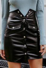 LEATHER BUTTONED MINI SKIRT