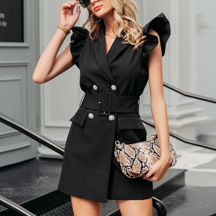 RUFFLED SLEEVE BLAZER DRESS
