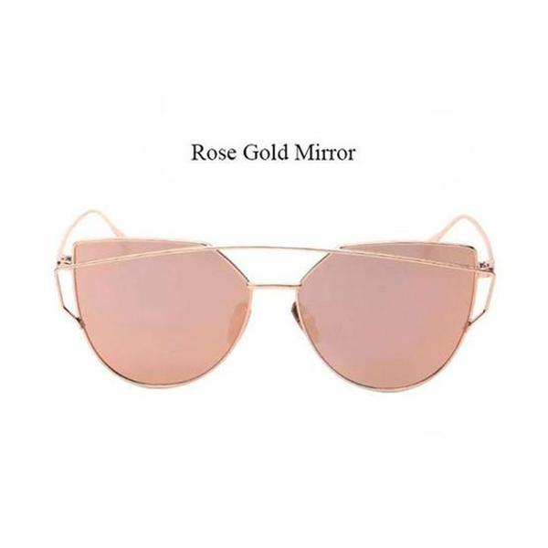 Mirror Flat Rose Gold Vintage Sunglasses