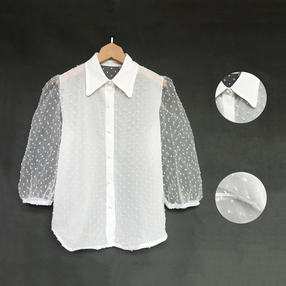 SHEER POLKA DOT PUFF SLEEEVE SHIRT