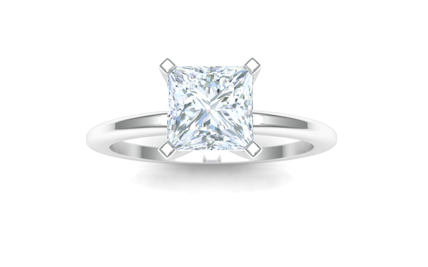 Cody Manuel 14 karat white gold solitaire engagement ring with GIA certified 0.90 carat Princess Cut center stone - size 8