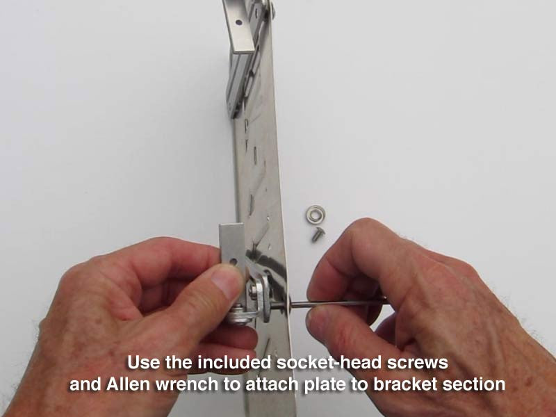 Use the included socket-head screws and Allen wrench to attach plate to bracket section.