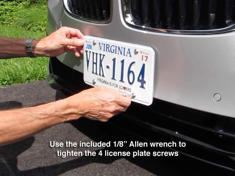"Use the included 1/8"" Allen wrench to tighten the 4 license plate screws."