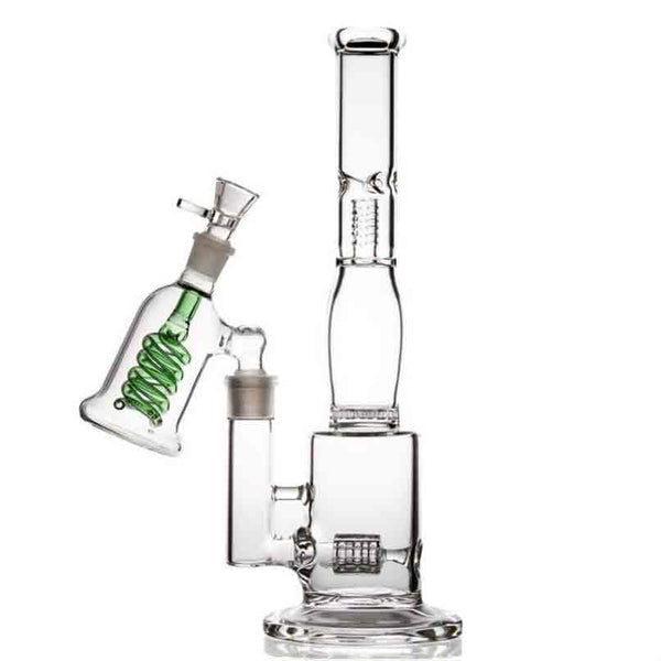 Tall 36.5cm Glass Spiral Percolator Bong Water Pipe + Ash Catch options