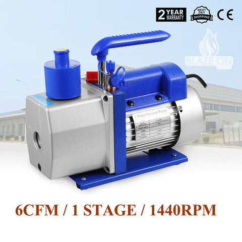 6 cfm 1/2 Horse Power Dual Stage Vacuum Chamber Pump + 6ft Heavy Duty Reinforced Hose
