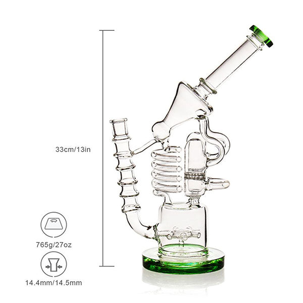 Double Honeycomb Bong Glass Recycler Wheel +Smoker Bowl