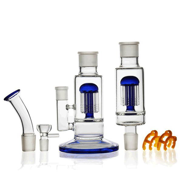"18.5 "" Big Bong Component Assemble Twin Recyclers +  Removable Percs & clips"