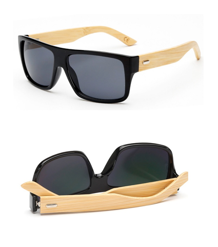 Square Framed Bamboo Sunglasses
