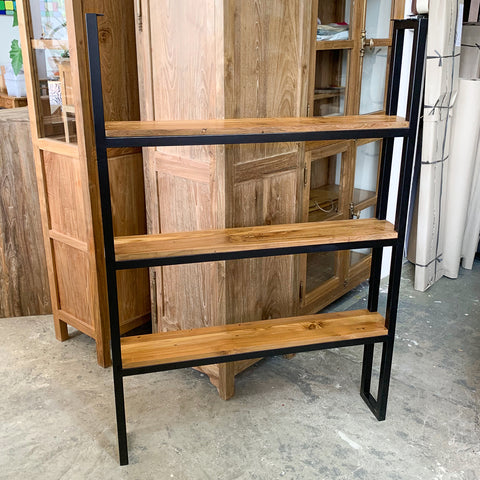 custom made stainless steel rack with teak shelves