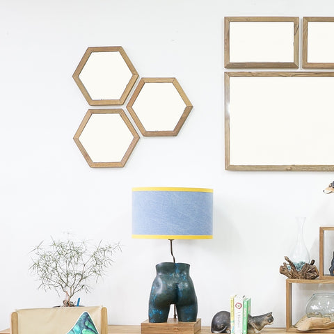 teak hexagon mirror