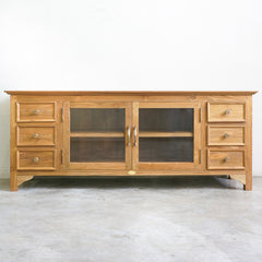 teak and glass tv console
