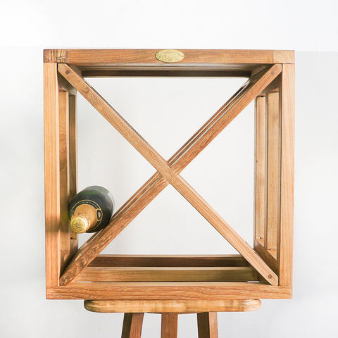 teak wood stackable wine rack
