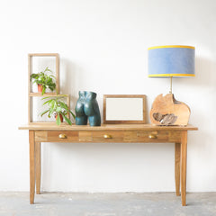 teak console with drawers