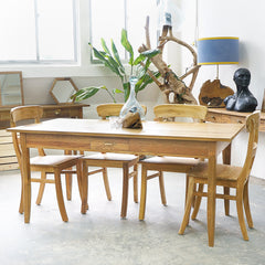 teak dining table with drawer