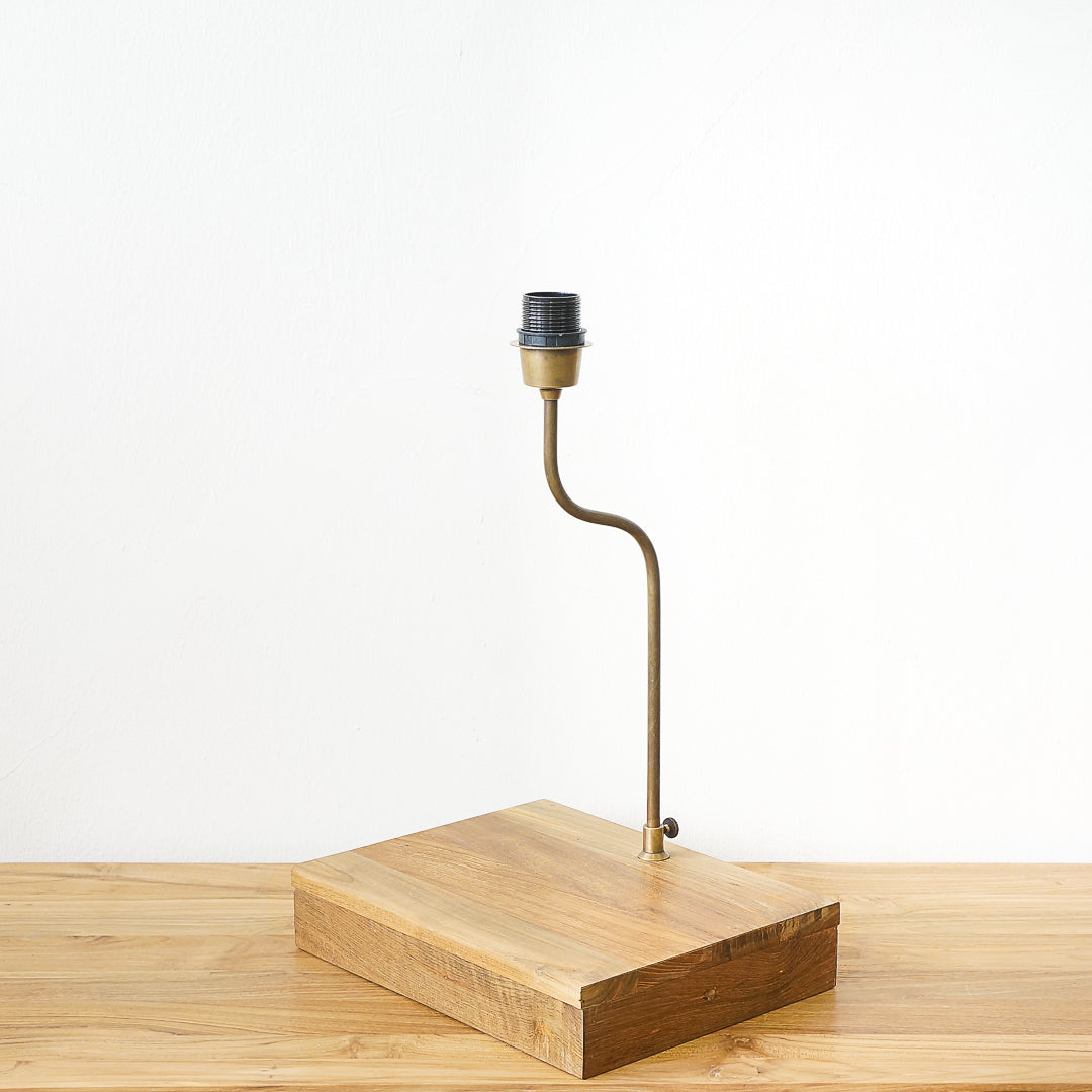 brass and teak table lamp