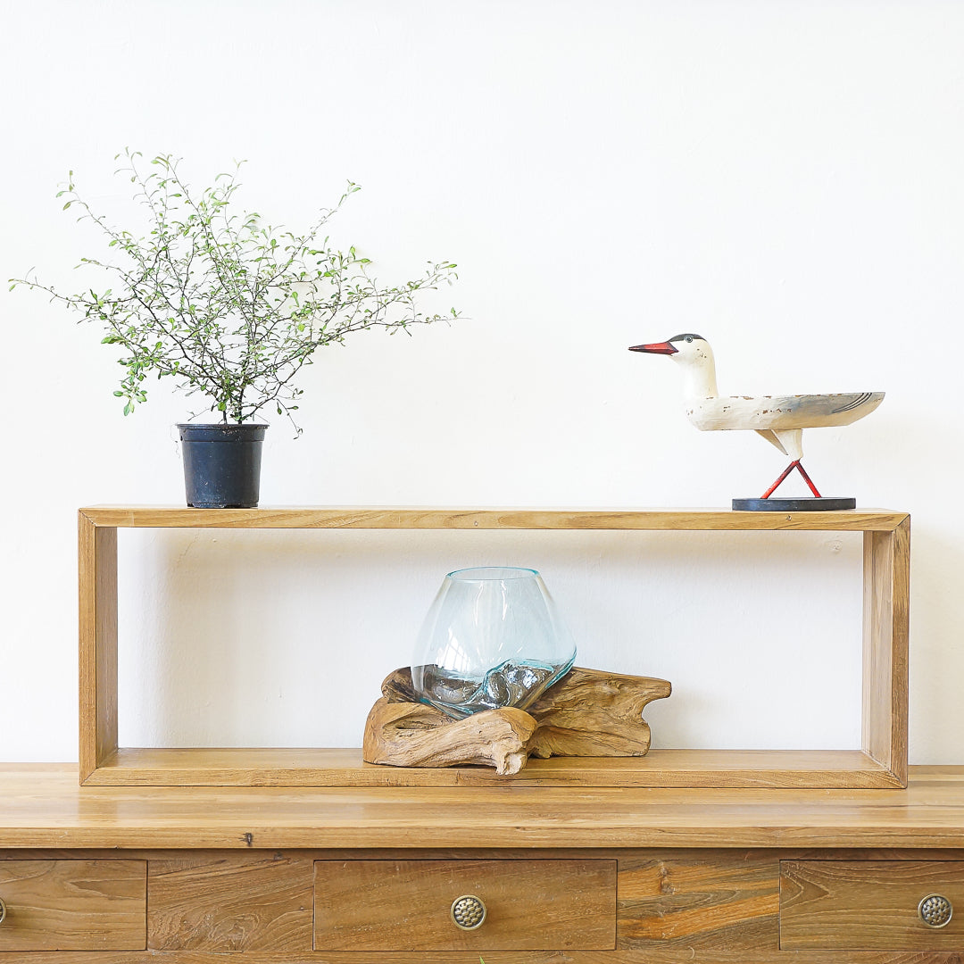 rectangle teak wood shelf singapore
