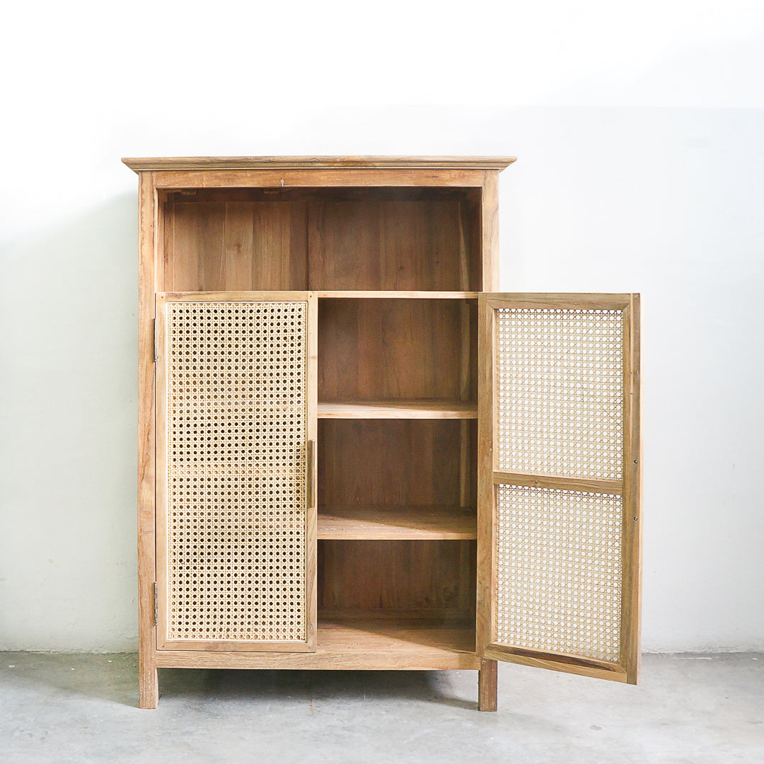 rattan and teak cabinet
