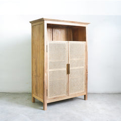 rattan teak and brass buffet cabinet