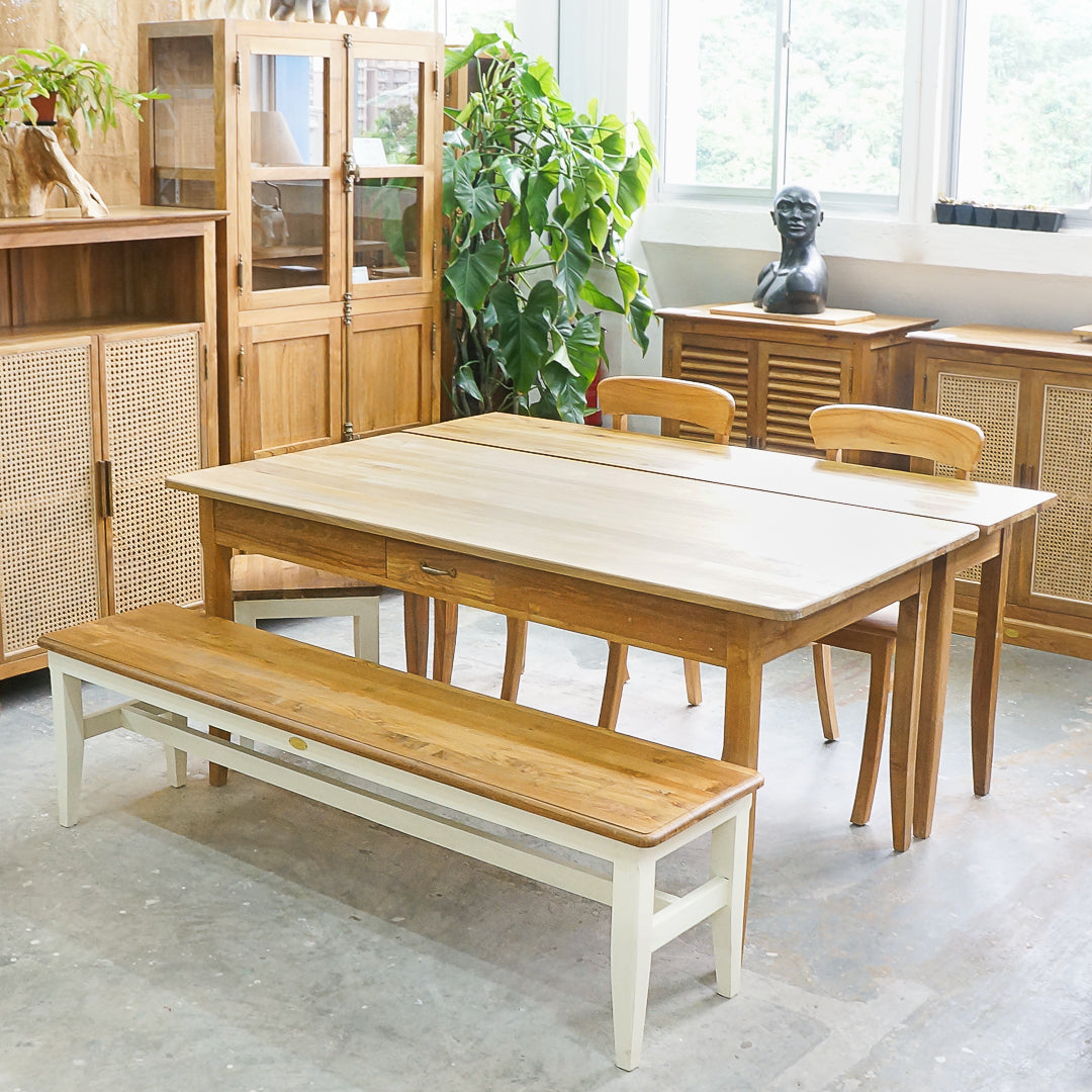 expandable dining table and bench teak