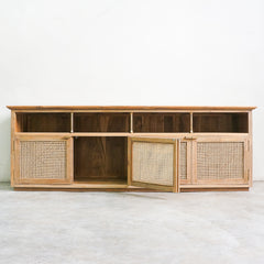 teak and rattan tv console