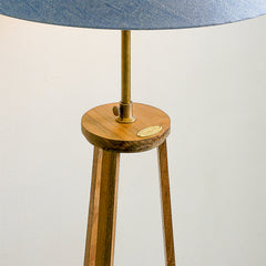 teak and brass lamp stand