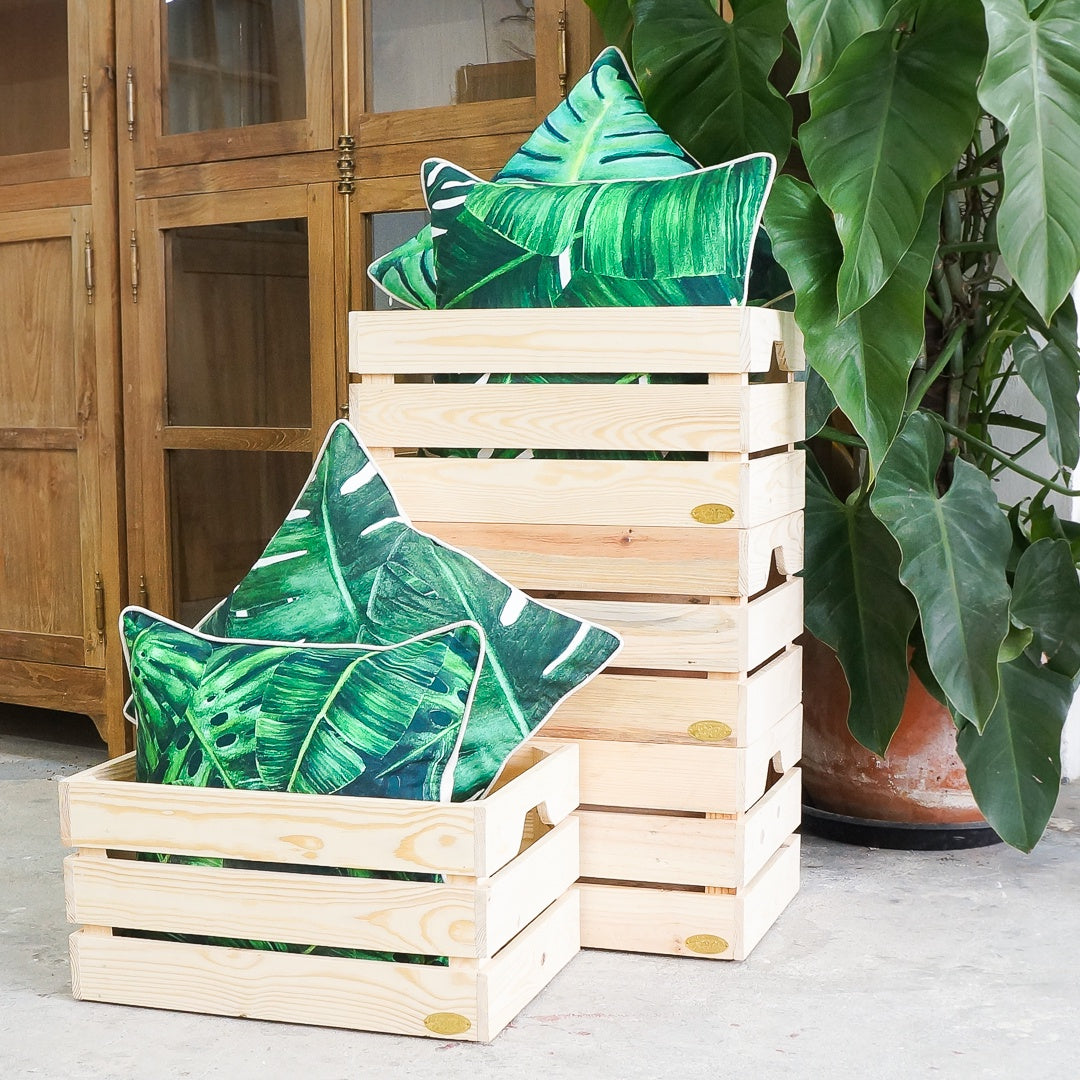 stackable pine crate storage