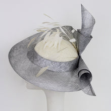 Silver Sinamay Freeform Brim with Rolled Spirals