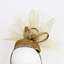 Gold Cocktail Hat with Lace Overlay and Veiling