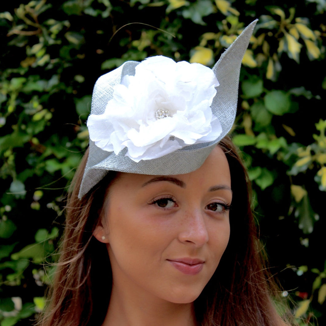 Silver Sinamay Cocktail Hat with handmade Ivory Silk Peony