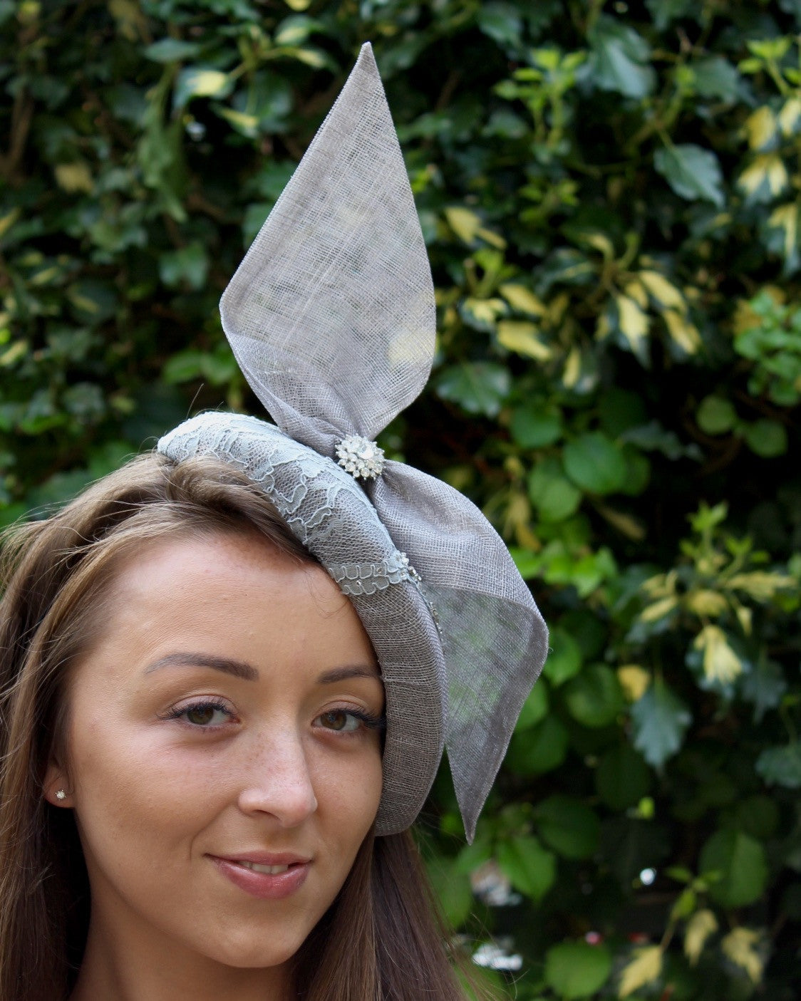 Pewter Grey Bow Cocktail Hat with Swarovski Beaded Lace