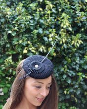 Black Cocktail Hat with Hand Pleated Cockade and Quill