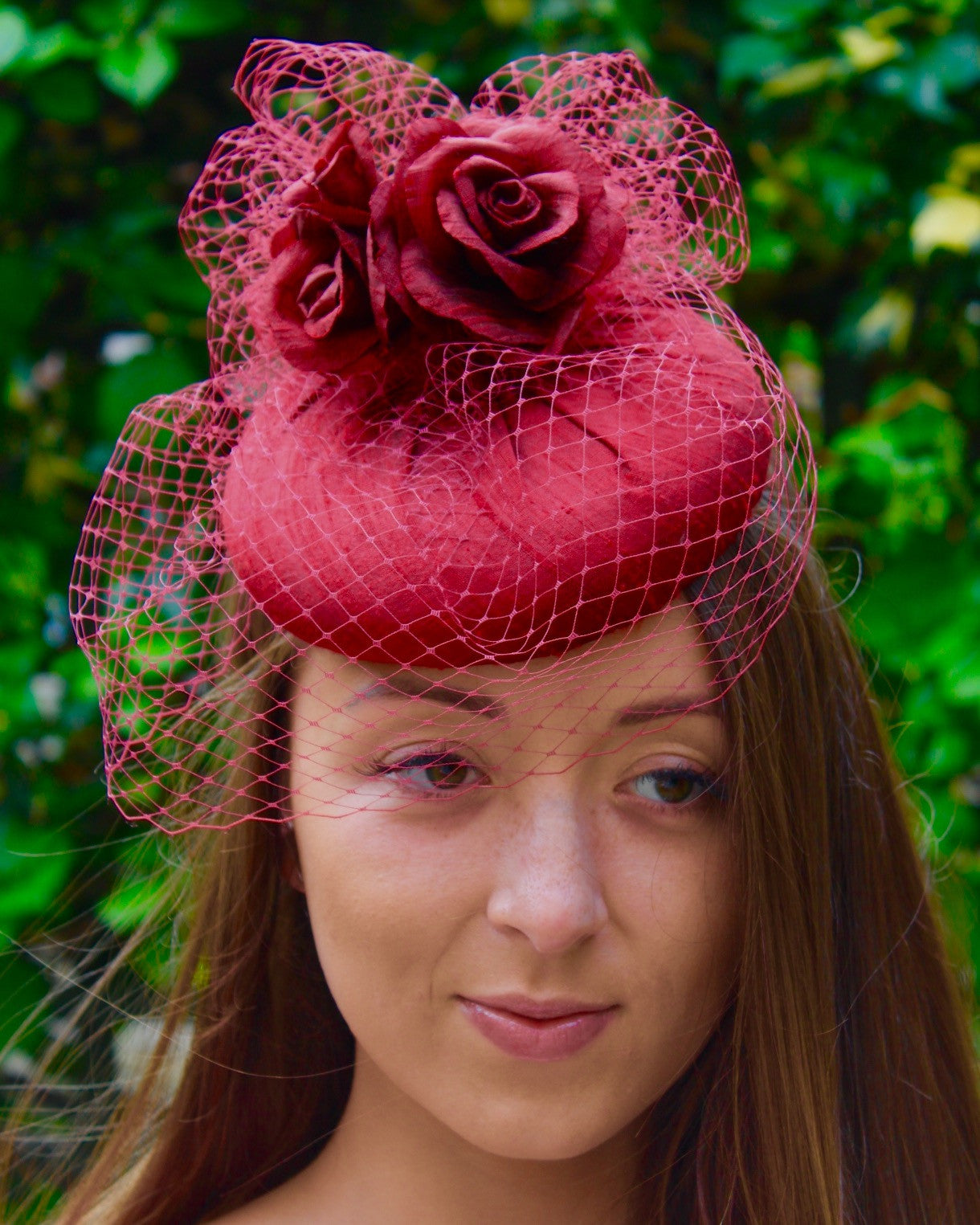 Deep Red Silk Cocktail Hat with Roses and Veiling
