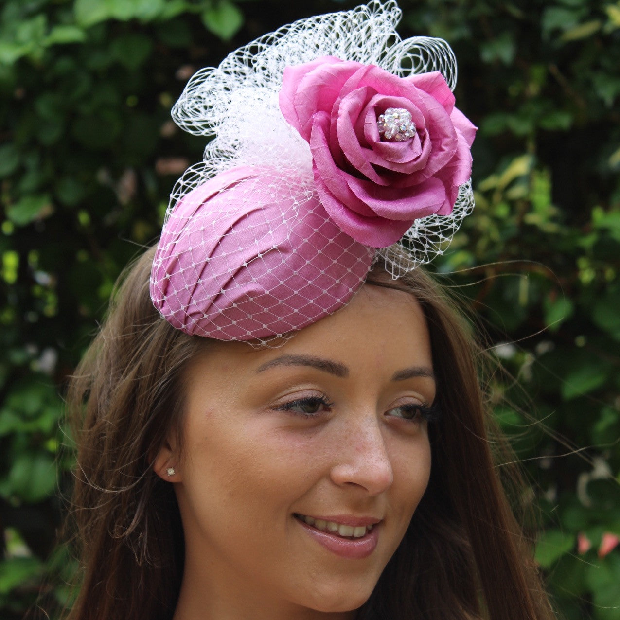 Pink Silk Cocktail Hat With Swarovski, handmade Silk Rose, and Veiling