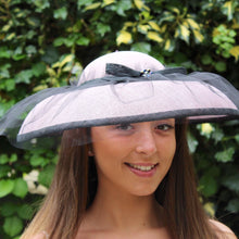 Pale Pink Sinamay Hat with Black Tulle Overlay.
