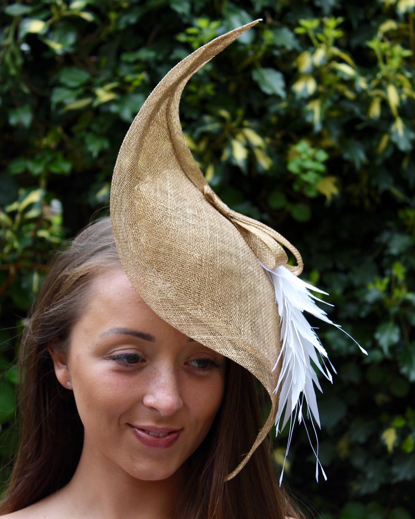 Gold Scuptural Sidesweep Headpiece