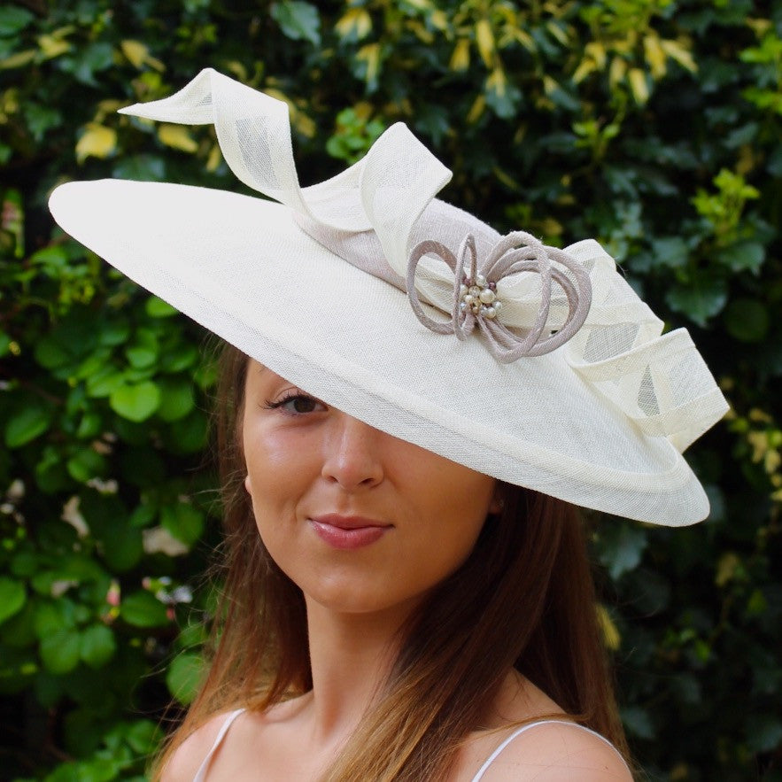 Dupion Silk and Sinamay Saucer Hat
