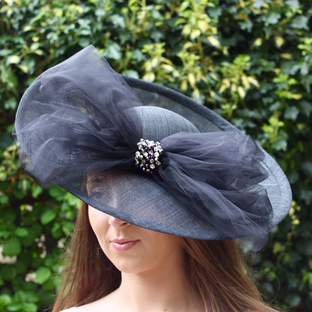 Large Black Sinamay Hat with Oversize Tulle Bow
