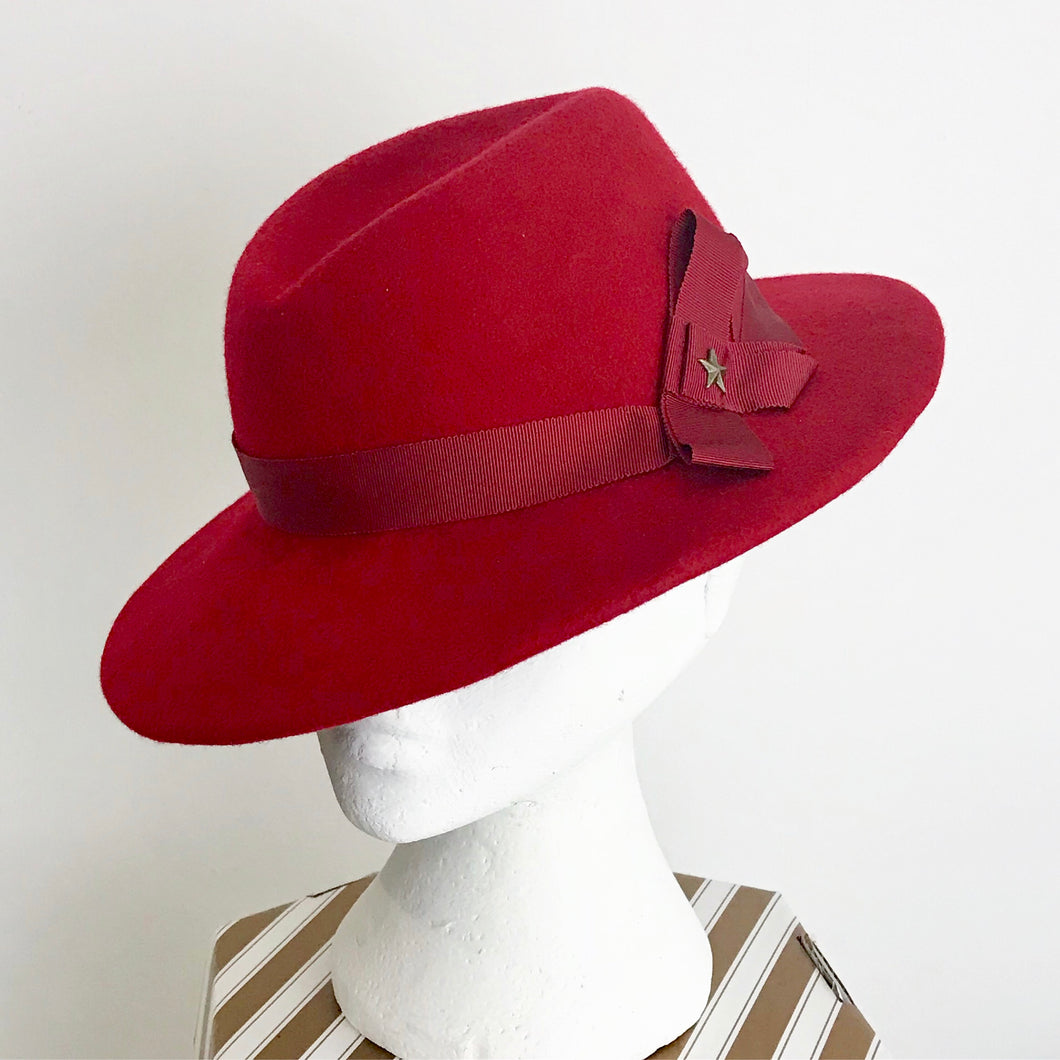 Red Wool Felt Fedora