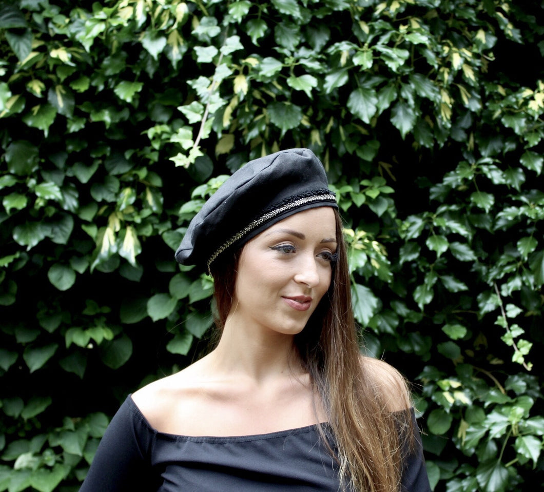 Black Linen Beret with Gold Beaded Fringe Trim