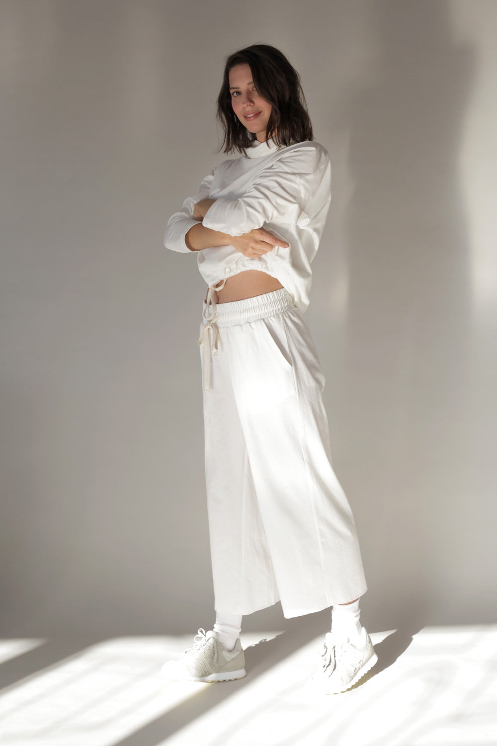 Cotton Jersey Wide Leg Cropped Pants In Milk