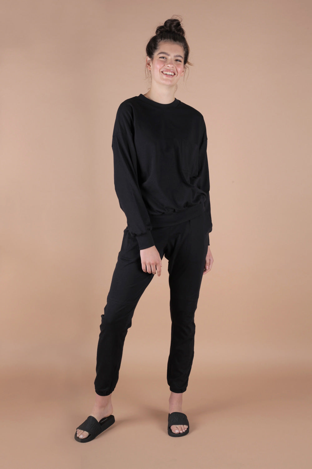 Essential 100% Cotton Jersey Sweatpants Set In Black